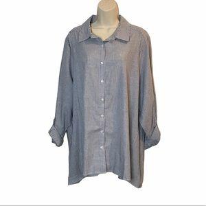 NEW Avenue Striped Button Down Shirt Tunic 22/24